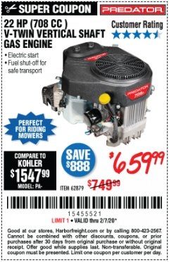 Harbor Freight Coupon PREDATOR 22 HP (708 CC) V-TWIN VERTICAL SHAFT ENGINE Lot No. 62879 Expired: 2/7/20 - $659.99