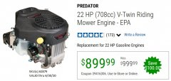 Harbor Freight Coupon PREDATOR 22 HP (708 CC) V-TWIN VERTICAL SHAFT ENGINE Lot No. 62879 Expired: 6/30/20 - $899.99