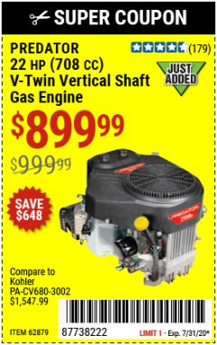 Harbor Freight Coupon PREDATOR 22 HP (708 CC) V-TWIN VERTICAL SHAFT ENGINE Lot No. 62879 Expired: 7/31/20 - $899.99