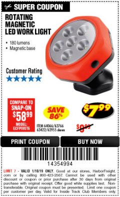 Harbor Freight ITC Coupon ROTATING MAGNETIC LED WORK LIGHT Lot No. 63422/62955/64066/63766 Expired: 1/10/19 - $7.99