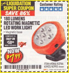 Harbor Freight Coupon ROTATING MAGNETIC LED WORK LIGHT Lot No. 63422/62955/64066/63766 EXPIRES: 6/30/18 - $7.99