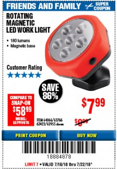 Harbor Freight Coupon ROTATING MAGNETIC LED WORK LIGHT Lot No. 63422/62955/64066/63766 Expired: 7/22/18 - $7.99
