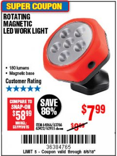Harbor Freight Coupon ROTATING MAGNETIC LED WORK LIGHT Lot No. 63422/62955/64066/63766 Expired: 8/6/18 - $7.99