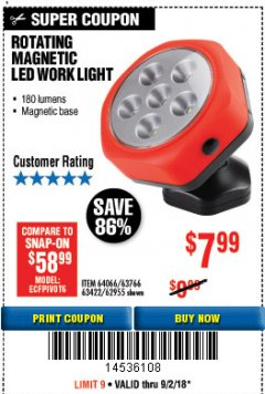 Harbor Freight Coupon ROTATING MAGNETIC LED WORK LIGHT Lot No. 63422/62955/64066/63766 Expired: 9/2/18 - $7.99
