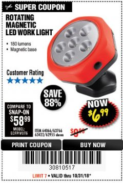 Harbor Freight Coupon ROTATING MAGNETIC LED WORK LIGHT Lot No. 63422/62955/64066/63766 Expired: 10/31/18 - $6.99