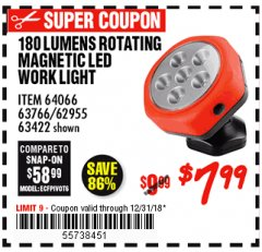 Harbor Freight Coupon ROTATING MAGNETIC LED WORK LIGHT Lot No. 63422/62955/64066/63766 Expired: 12/31/18 - $7.99