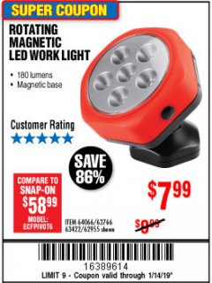 Harbor Freight Coupon ROTATING MAGNETIC LED WORK LIGHT Lot No. 63422/62955/64066/63766 Expired: 1/14/19 - $7.99