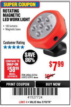 Harbor Freight Coupon ROTATING MAGNETIC LED WORK LIGHT Lot No. 63422/62955/64066/63766 Expired: 2/18/19 - $7.99
