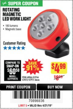 Harbor Freight Coupon ROTATING MAGNETIC LED WORK LIGHT Lot No. 63422/62955/64066/63766 Expired: 4/21/19 - $4.99