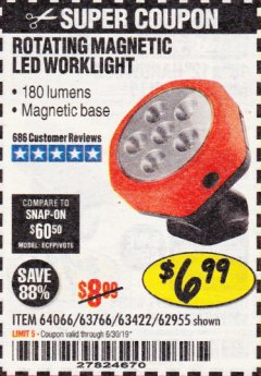 Harbor Freight Coupon ROTATING MAGNETIC LED WORK LIGHT Lot No. 63422/62955/64066/63766 Expired: 6/30/19 - $6.99