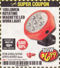 Harbor Freight Coupon ROTATING MAGNETIC LED WORK LIGHT Lot No. 63422/62955/64066/63766 Expired: 11/30/19 - $6.99