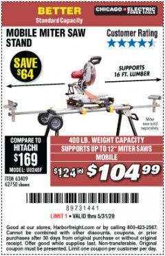 Harbor Freight Coupon CHICAGO ELECTRIC HEAVY DUTY MOBILE MITER SAW STAND Lot No. 63409/62750 Expired: 6/30/20 - $104.99