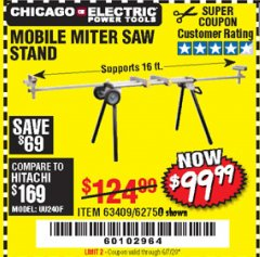 Harbor Freight Coupon CHICAGO ELECTRIC HEAVY DUTY MOBILE MITER SAW STAND Lot No. 63409/62750 Expired: 6/30/20 - $99.99