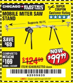 Harbor Freight Coupon CHICAGO ELECTRIC HEAVY DUTY MOBILE MITER SAW STAND Lot No. 63409/62750 Expired: 6/21/20 - $99.99