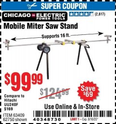 Harbor Freight Coupon CHICAGO ELECTRIC HEAVY DUTY MOBILE MITER SAW STAND Lot No. 63409/62750 Expired: 8/16/20 - $99.99
