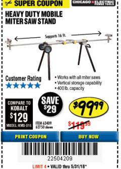 Harbor Freight Coupon CHICAGO ELECTRIC HEAVY DUTY MOBILE MITER SAW STAND Lot No. 63409/62750 Expired: 5/31/18 - $99.99