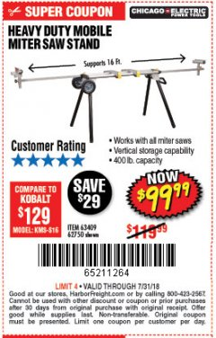 Harbor Freight Coupon CHICAGO ELECTRIC HEAVY DUTY MOBILE MITER SAW STAND Lot No. 63409/62750 Expired: 7/31/18 - $99.99