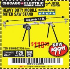 Harbor Freight Coupon CHICAGO ELECTRIC HEAVY DUTY MOBILE MITER SAW STAND Lot No. 63409/62750 Expired: 11/3/18 - $99.99