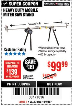 Harbor Freight Coupon CHICAGO ELECTRIC HEAVY DUTY MOBILE MITER SAW STAND Lot No. 63409/62750 Expired: 10/7/18 - $99.99