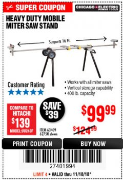 Harbor Freight Coupon CHICAGO ELECTRIC HEAVY DUTY MOBILE MITER SAW STAND Lot No. 63409/62750 Expired: 11/18/18 - $99.99