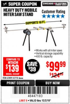 Harbor Freight Coupon CHICAGO ELECTRIC HEAVY DUTY MOBILE MITER SAW STAND Lot No. 63409/62750 Expired: 12/2/18 - $99.99