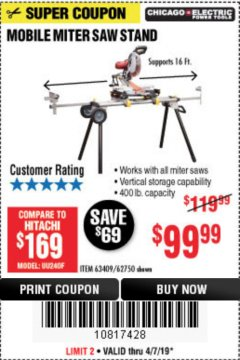Harbor Freight Coupon CHICAGO ELECTRIC HEAVY DUTY MOBILE MITER SAW STAND Lot No. 63409/62750 Expired: 4/7/19 - $99.99