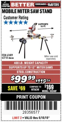 Harbor Freight Coupon CHICAGO ELECTRIC HEAVY DUTY MOBILE MITER SAW STAND Lot No. 63409/62750 Expired: 6/16/19 - $99.99