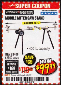 Harbor Freight Coupon CHICAGO ELECTRIC HEAVY DUTY MOBILE MITER SAW STAND Lot No. 63409/62750 Expired: 8/31/19 - $99.99