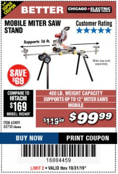 Harbor Freight Coupon CHICAGO ELECTRIC HEAVY DUTY MOBILE MITER SAW STAND Lot No. 63409/62750 Expired: 10/31/19 - $99.99