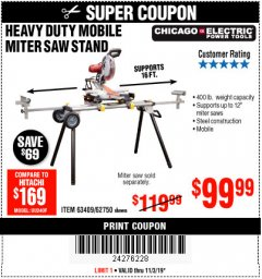 Harbor Freight Coupon CHICAGO ELECTRIC HEAVY DUTY MOBILE MITER SAW STAND Lot No. 63409/62750 Expired: 11/3/19 - $99.99
