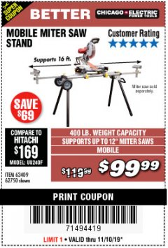 Harbor Freight Coupon CHICAGO ELECTRIC HEAVY DUTY MOBILE MITER SAW STAND Lot No. 63409/62750 Expired: 11/10/19 - $99.99