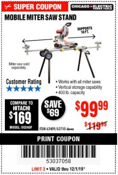 Harbor Freight Coupon CHICAGO ELECTRIC HEAVY DUTY MOBILE MITER SAW STAND Lot No. 63409/62750 Expired: 12/1/19 - $99.99