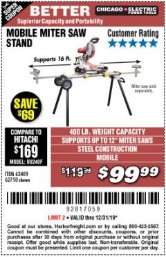 Harbor Freight Coupon CHICAGO ELECTRIC HEAVY DUTY MOBILE MITER SAW STAND Lot No. 63409/62750 Expired: 12/31/19 - $99.99