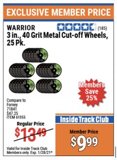 "Harbor Freight ITC Coupon 3"" CUT-OFF WHEELS FOR METAL PACK OF 25 Lot No. 93178/61150/61355 Valid Thru: 1/28/21 - $9.99"