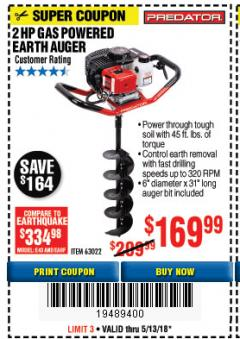 "Harbor Freight Coupon GASOLINE AUGER POWERHEAD WITH 6"" BIT Lot No. 63022 Expired: 5/13/18 - $169.99"