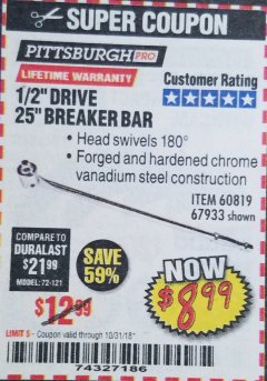 "Harbor Freight Coupon 1/2"" DRIVE 25"" BREAKER BAR Lot No. 67933/60819 Expired: 10/31/18 - $8.99"