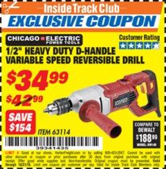"Harbor Freight ITC Coupon 1/2"" HEAVY DUTY D-HANDLE VARIABLE SPEED DRILL Lot No. 69453/63114 Dates Valid: 12/31/69 - 10/31/18 - $34.99"