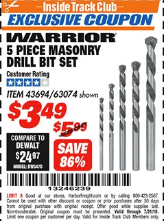 Harbor Freight ITC Coupon 5 PIECE MASONRY DRILL BIT SET Lot No. 63074/43694 Expired: 7/22/18 - $3.49