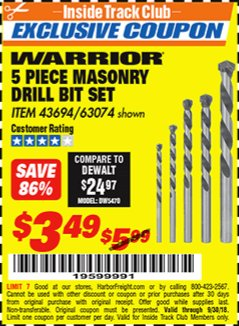Harbor Freight ITC Coupon 5 PIECE MASONRY DRILL BIT SET Lot No. 63074/43694 Expired: 9/30/18 - $3.49