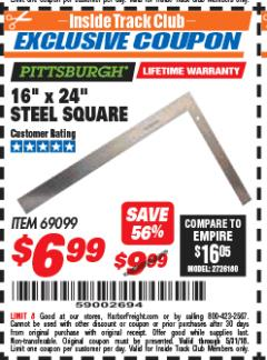 "Harbor Freight ITC Coupon 16"" X 24"" STEEL SQUARE Lot No. 69099 Expired: 5/31/18 - $6.99"