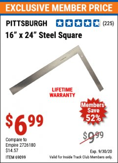 "Harbor Freight ITC Coupon 16"" X 24"" STEEL SQUARE Lot No. 69099 Expired: 9/30/20 - $6.99"