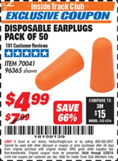 Harbor Freight ITC Coupon DISPOSABLE EAR PLUGS PACK OF 50 Lot No. 96365 Dates Valid: 2/1/19 - 2/28/19 - $4.99