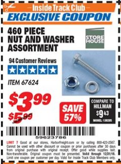 Harbor Freight ITC Coupon 460 PIECE NUT AND WASHER ASSORTMENT Lot No. 67624 Valid Thru: 12/31/18 - $3.99