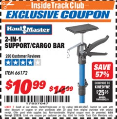 Harbor Freight ITC Coupon 2-IN-1 SUPPORT/CARGO BAR Lot No. 66172 Expired: 2/28/19 - $10.99