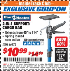 Harbor Freight ITC Coupon 2-IN-1 SUPPORT/CARGO BAR Lot No. 66172 Expired: 4/30/19 - $10.99
