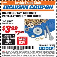 "Harbor Freight ITC Coupon 104 PIECE, 1/2"" GROMMET INSTALLATION KIT Lot No. 63237 Expired: 6/30/18 - $3.99"