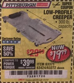 Harbor Freight Coupon LOW-PROFILE CREEPER Lot No. 63424/63371/63372 Expired: 2/5/19 - $19.99