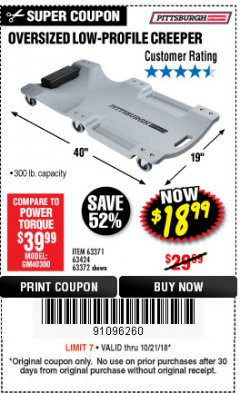 Harbor Freight Coupon LOW-PROFILE CREEPER Lot No. 63424/63371/63372 Expired: 10/21/18 - $18.99