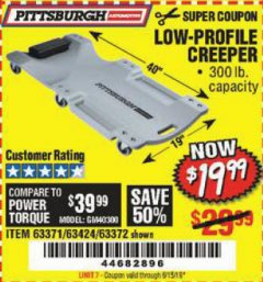 Harbor Freight Coupon LOW-PROFILE CREEPER Lot No. 63424/63371/63372 Valid Thru: 5/15/19 - $19.99