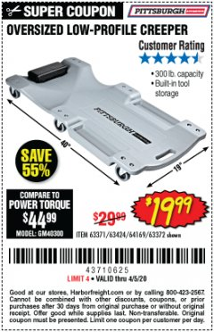 Harbor Freight Coupon LOW-PROFILE CREEPER Lot No. 63424/63371/63372 Valid Thru: 4/5/20 - $19.99